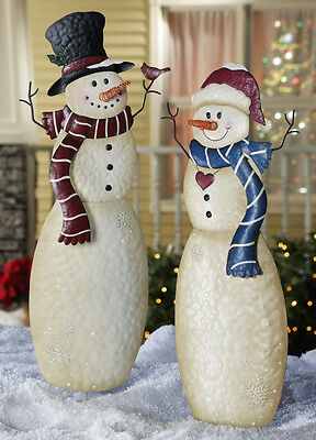 MR & MRS SNOWMAN Christmas Yard Stake Holiday Outdoor Lawn Garden New Decor