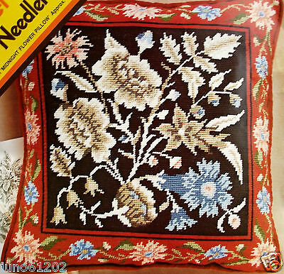 """16"""" Needlepoint Pillow Kit MIDNIGHT FLOWER PILLOW Meredith Gladstone Floral"""