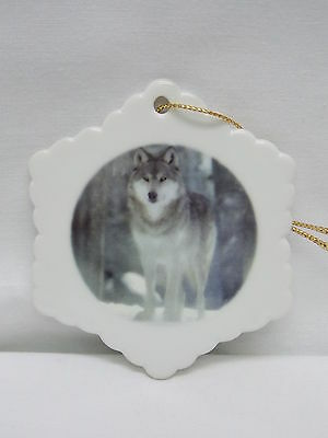 Wolf in the Snow Porcelain Snowflake Christmas Tree Ornament Fired Decal-D