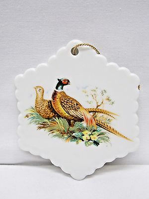 Ringneck Pheasants 3 In Snowflake Christmas Tree Ornament Porcelain  Decal-D