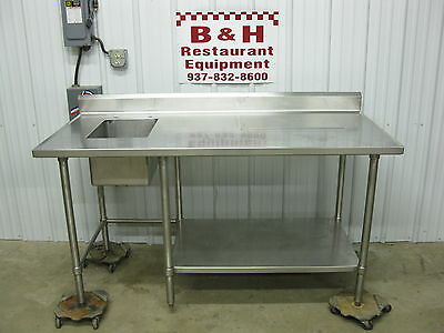 "66"" Stainless Steel Heavy Duty Work Prep Table w/ 1 Bowl Compartment Sink 5' 6"""