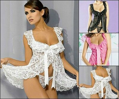 New ladies sexy babydoll nightwear sleepwear lingerie negligee camisole 8-18