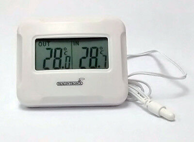 Digital LCD Thermometer - indoor and outdoor 1 Metre wired Temperature Probe