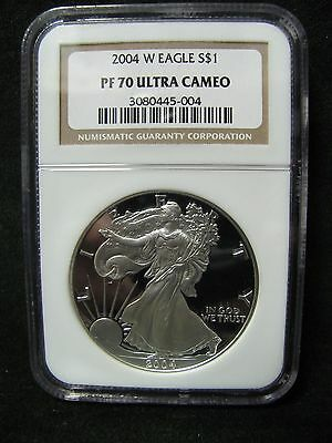 2004 W $1 American Proof Silver Eagle Dollar - Certified NGC PF 70 Ultra Cameo!
