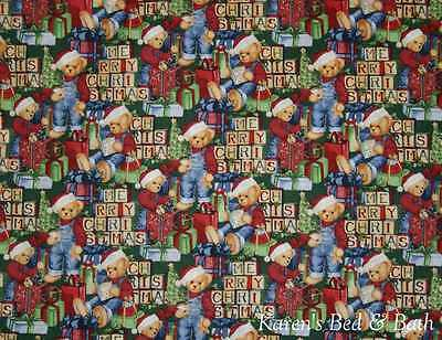 Beary Christmas Blue Jean Santa Teddy Bear Blocks Presents Curtain Valance NEW