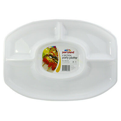 48 x WHITE PLASTIC 4 SECTION DIP PLATTER SERVING TRAY LARGE  46x33cm