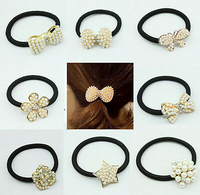 Women Crystal Rhinestone Pearl Hair Band Rope Elastic Ponytail Holder Bowknot