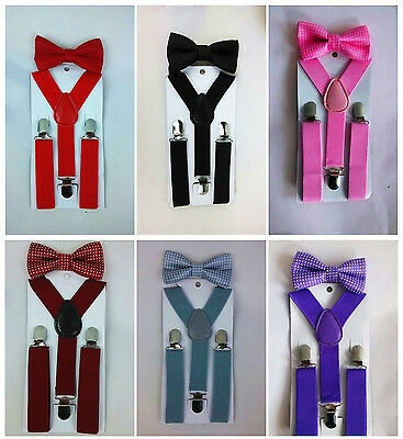 Suspender and Bow Tie Sets Matching Colors for Boys Girls Kids US Seller