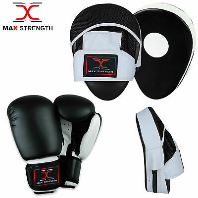 Curved Focus Pads Mitts with Boxing Gloves Hook and Jab Punch Bag Kick MMA Set