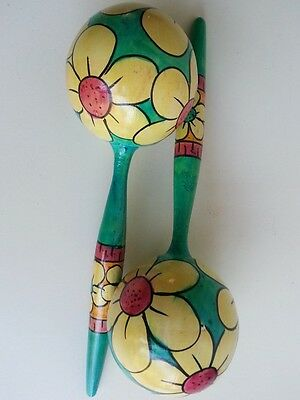 Maracas Pair Set Of 2 Hand Painted Flowr Wood Musical Instrument Percussion Bali