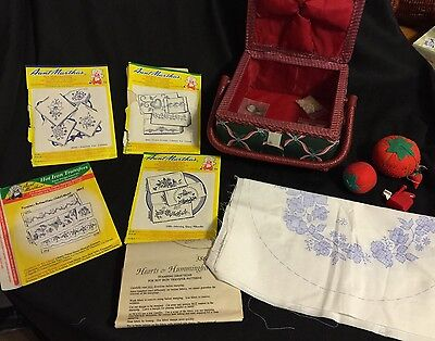 VTG Sewing Box Lot , Sewing Box, VTG Transfer Patterns Various Notions & More
