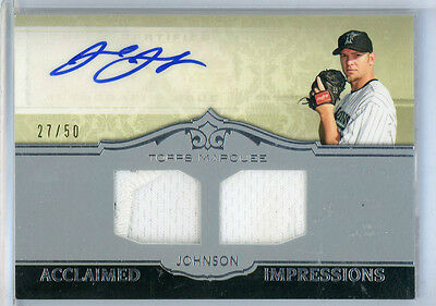 2011 Topps Marquee JOSH JOHNSON Autograph #27/50 Double Jersey Relic Patch Auto