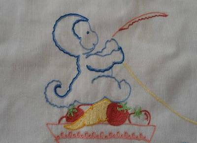 "Vintage 50s Baby Bib Tambour Embroidered Monkey ""GRACE"" Label"