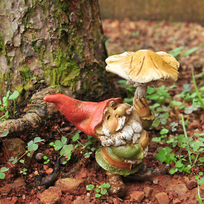 "3.5"" My Fairy Gardens Mini Figure - Gnome with Mushroom Umbrella - Figurine"