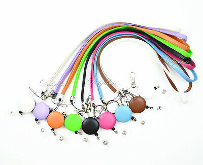 Leather Necklace Lanyard and Badge Reel Retractable ID Holder key chain