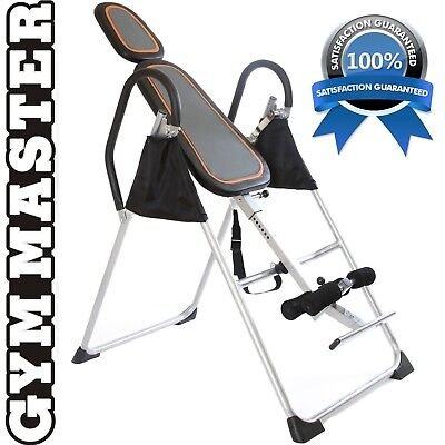 Foldable INVERSION TABLE PRO PREMIUM Exercise Bench Black + Silver Gym Master