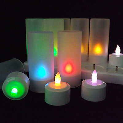 LED RGB Rechargeable 12pcs Flameless Tea Light Candles with Remote Controller