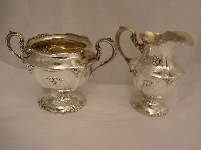 Wallace Sterling Silver Creamer and Sugar Bowl with Daffodils