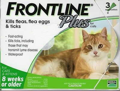 Frontline Plus for Cats - 3 Pack - Green - New, Sealed! Fast FREE Shipping