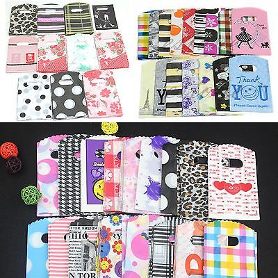 Nice 50pcs Wholesale  Pretty Mixed Pattern Plastic Gifts Mini Bags Shopping Bags