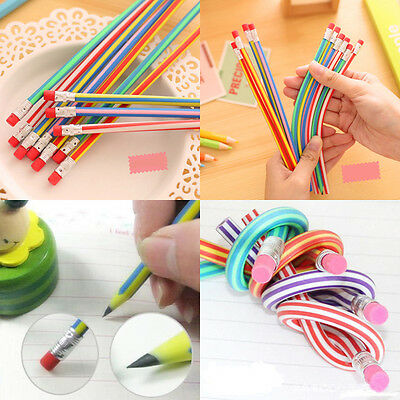 5Pcs Colorful Funny Bendy Flexible Soft Pencil With Eraser For Kids Writing Gift
