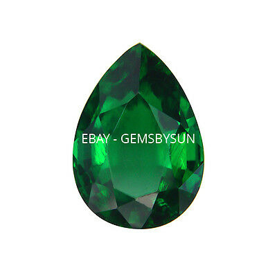 Hydrothermal Lab Created Emerald Green Pear Loose stone AAA (4x2 to 18x13mm)