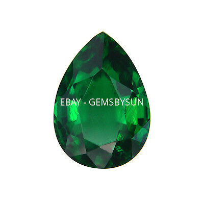 Lab Created Hydrothermal Emerald Green Pear Faceted Loose Stones (4x2mm-18x13mm)