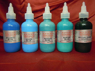 TATTOO INK BLUE'S / GREENS 100 / 30 / 15ML AQUEOUS DISPERSION UK MADE Inspire UK