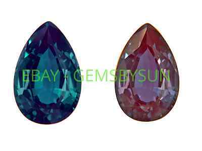 Lab-Created Pulled Alexandrite Color Change Pear Loose stone (4x2 to 30x20mm)