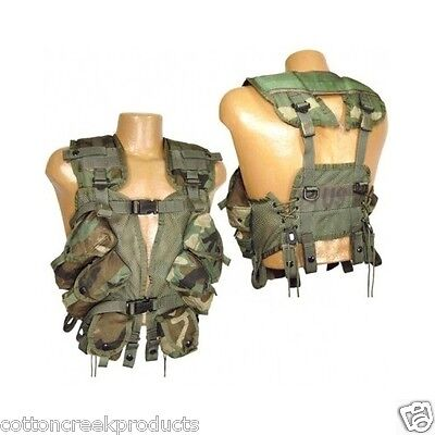 Military Tactical Vest Enhanced Load Bearing Woodland Camo US Issue LBV Good Cnd