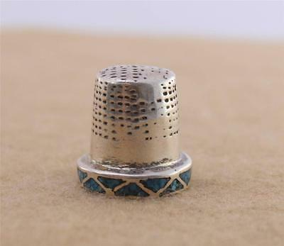 VTG Sterling Silver Turquoise Chip Inlay Thimble Unmarked Unsigned Tested
