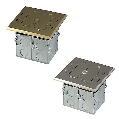 2-Gang Square Electrical Floor Box Kit TWR Receptacle Outlet Duplex Ports