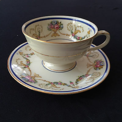 "Coronado ""La Boheme"" Porcelain Footed Cup and Saucer Fine China Haas Czyek"