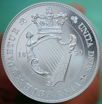 Ireland 1830 Retro Pattern Crown Sterling Silver King William IV RARE Proof Coin