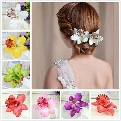 Colorful Bridal Wedding Orchid Flower Hair Clip Barrette Women Girls Accessories