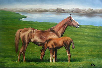 """Oil Painting of Mother and Baby Horse on Field by River Animal Portrait 24x36"""""""