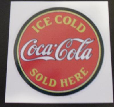 "Coca Cola ""Ice Cold Sold Here"" Vintage sticker decal sign 3"""