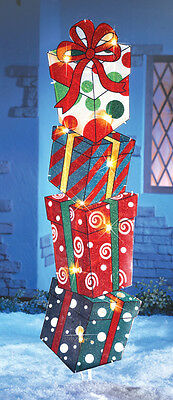 LIGHTED CHRISTMAS GIFTS STAKED OUTDOOR HOLIDAY YARD STAKE  DECOR NEW
