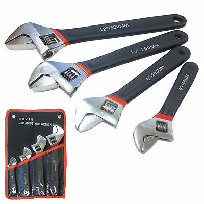 """4pc Wrench Soft Grip Chrome Adjustable 6""""in 8""""in 10""""in 12'in SAE/MM"""
