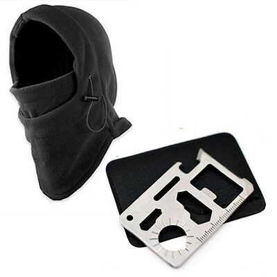 Stock Outdoor Survival Kit Knife Card+Winter Ski Mask Beanie Camping Hiking Gear