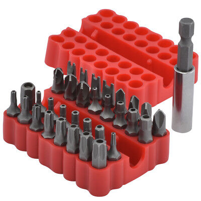 Security Bits | 33pc Set Tamper Proof Torx Hex Tri Phillips Screwdriver Magnetic