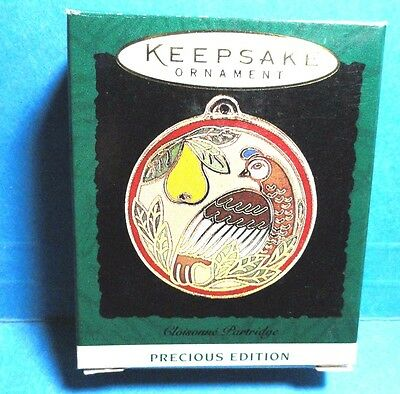 "Hallmark ""Cloisonne Partridge"" Miniature Ornament 1995"