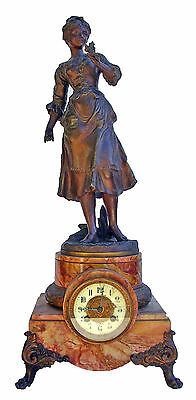 Reloj Art Deco Mantle French Clock Le Mans With Bronze Statue Pink Marble • £175.00
