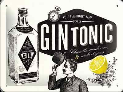 A5 Retro Embossed Tin Metal Sign 'GIN TONIC' Cocktail Vintage look 15 x 20cm B/W