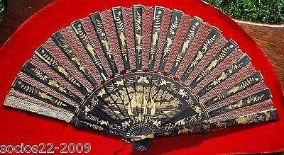 ANTIQUE CHINESE WOOD LACQUER HAND FAN