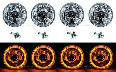 "5-3/4"" Amber LED Halo Halogen Light Bulb Headlight Angel Eye Crystal Clear Set"