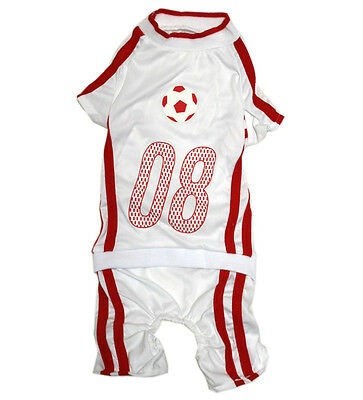 949 S~5L White/Red Soccer Overall Jumpsuit /Dog Clothes Sweater Jacket Coat -N