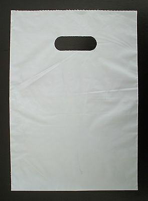 50 Plastic Die Cut Gift Fashion Carry Shopping Bags -  White 330 x 230mm