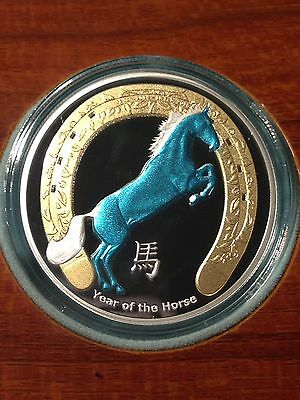 "2014 Niue $2 ""Year Of The Horse"" 1oz .999 Fine Silver Proof Coin 
