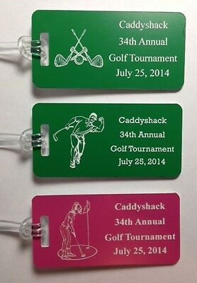 "100 Plastic Custom Sized 2"" x 4"" Engraved Golf Tournament Bag Tags"